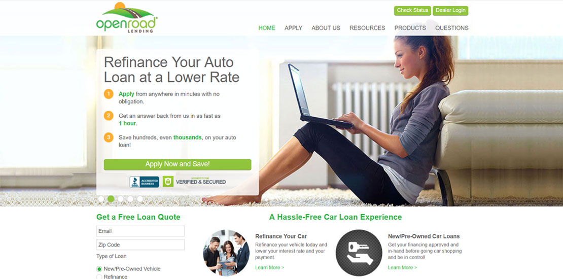 OpenRoad Lending's New Site
